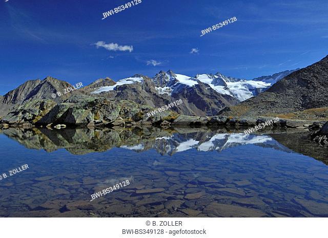 mountainmassif with glacier mirroring on a lake, Italy, Gran Paradiso National Park