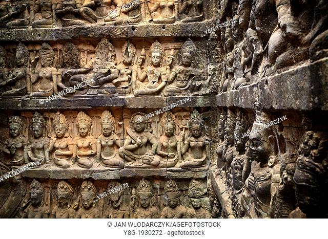 The Terrace of the Leper King - sculptures of the wall of temple, Angkor Temple Complex, Siem Reap Province, Cambodia, Asia