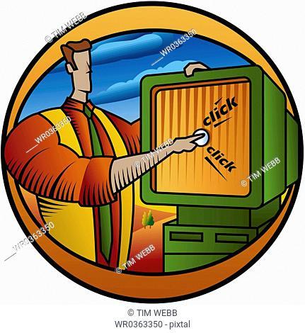 man touching computer screen