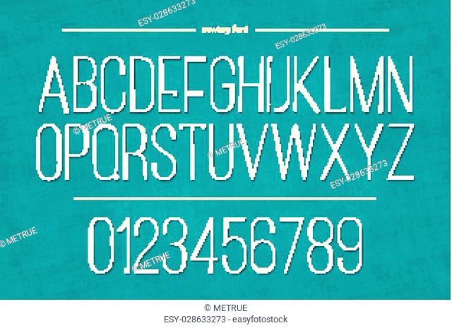 set of thin thread alphabet letters and numbers on blue canvas texture. vector embroidery style font type design. fashion and handmade hobby concept typesetting