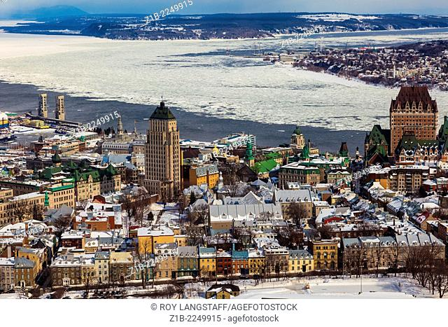 Overview of Old Quebec City and ice on the St. Lawrence River