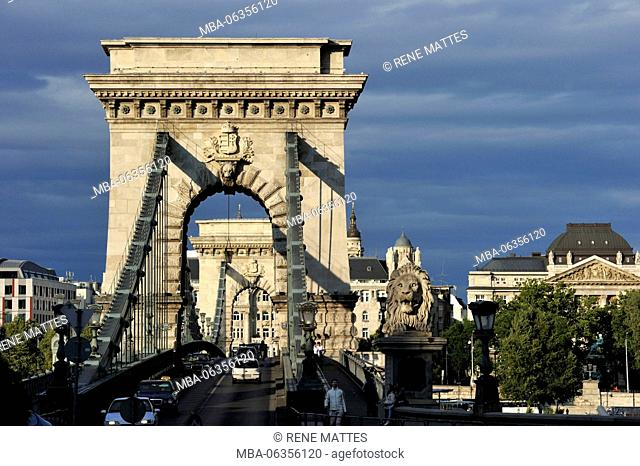 Hungary, Budapest, the Danube river, the Chain Bridge (Szechenyi Lanchid) listed as World Heritage by UNESCO, the Gresham Palace, Art Nouveau style of 1907