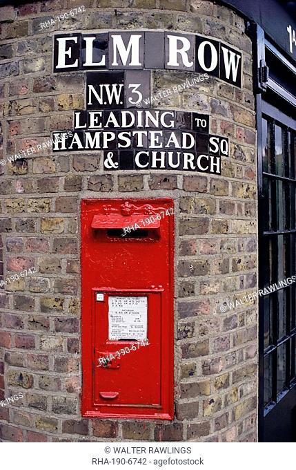 Tiled street name and postbox, Hampstead, London, England, United Kingdom, Europe