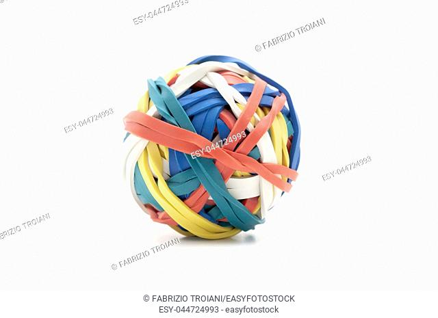 Ball of rubber bands on a white background