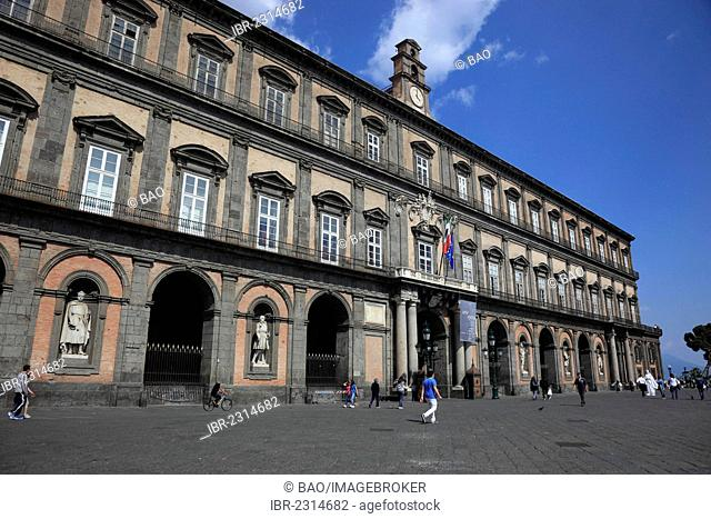Palazzo Reale, the royal palace, palace of the viceroys on Piazza del Plebescito square, Naples, Campania, Italy, Europe