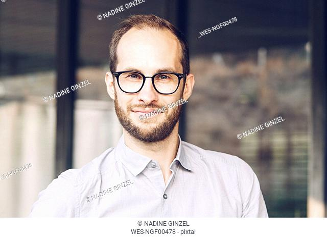 Portrait of bearded businessman wearing glasses