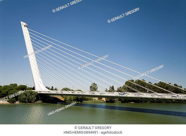 Spain, Andalucia, Seville, Guadalquivir River and the Alamillo Bridge by Santiago Calatrava built for the International Exhibition of 1992