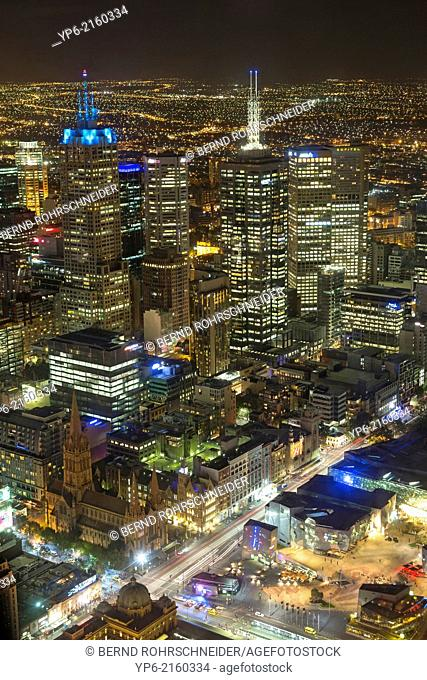 skyline at night seen from Eureka Tower, Melbourne, Victoria, Australia