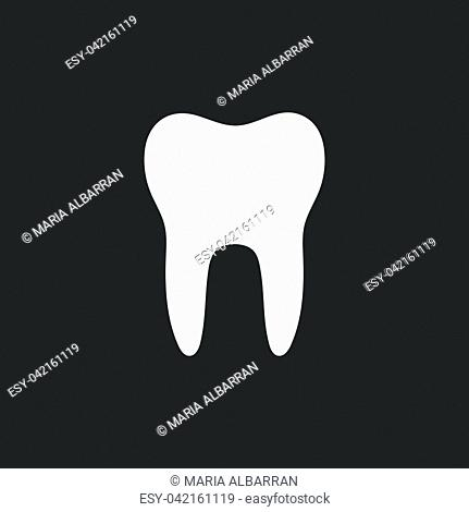 Tooth flat icon on a black background. Vector illustration