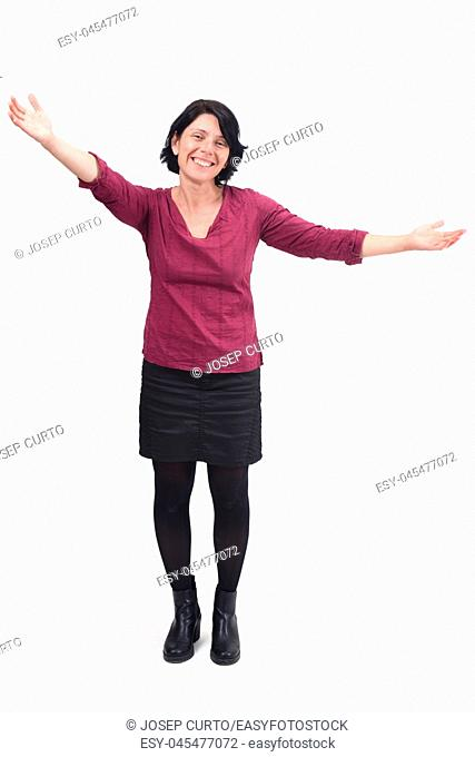 woman who wants to give you a hug on white background