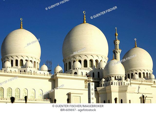Main domes of Sheikh Zayed Bin Sultan Al Nahyan Mosque, Great Mosque, Abu Dhabi, United Arab Emirates