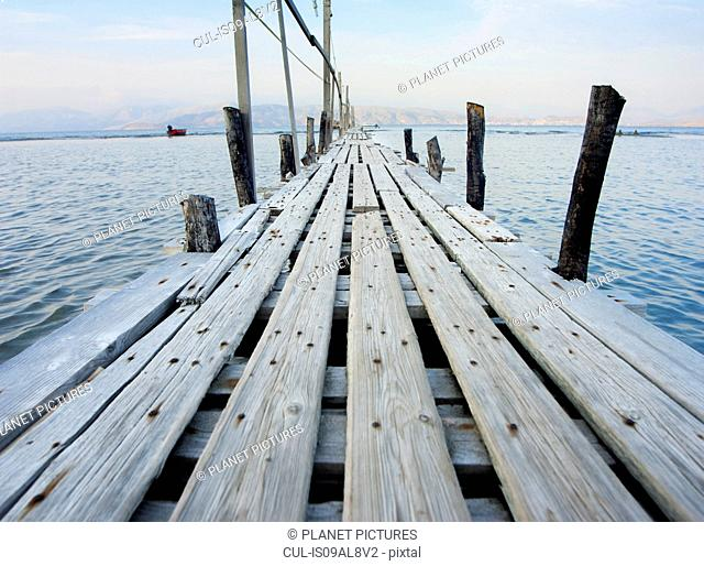 Wooden pontoon, Corfu, Greece