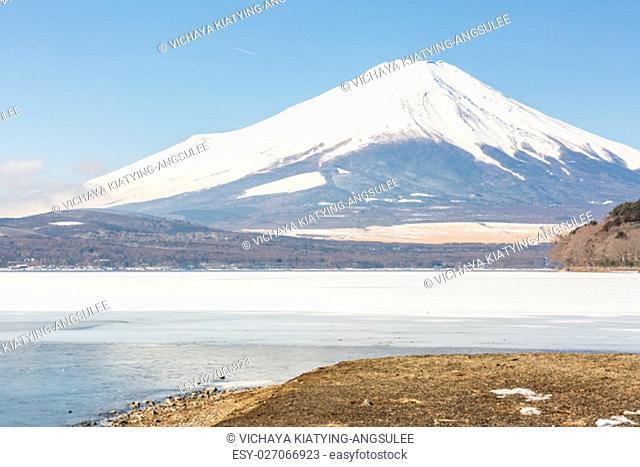 Winter Mount Fuji at Iced Yamanaka Lake in snow winter season Japan