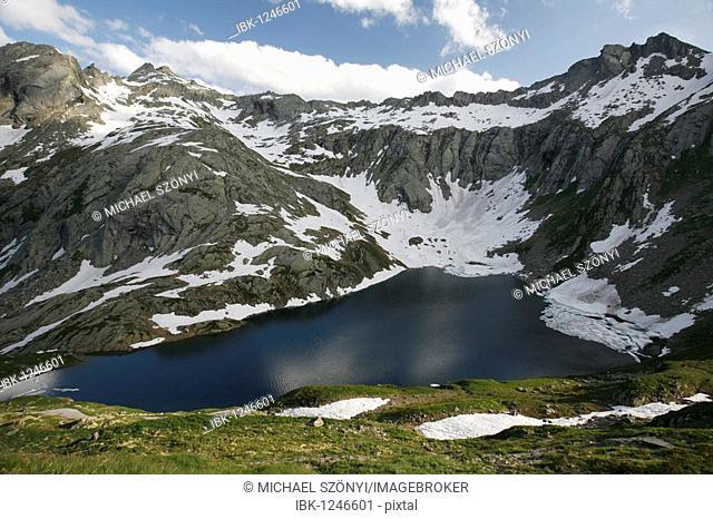 Small lake in the Naret lake plateau in the Alps, Val Lavizzara valley, Ticino, Switzerland, Europe
