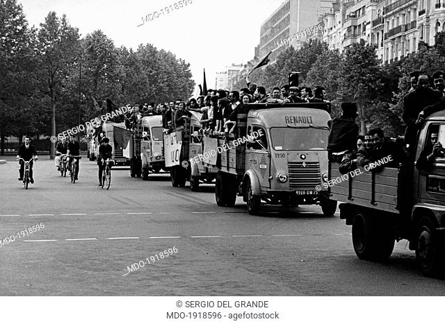 Many workers at the French car company Renault demonstrating on some trucks along the streets of the city. Paris, May 1968