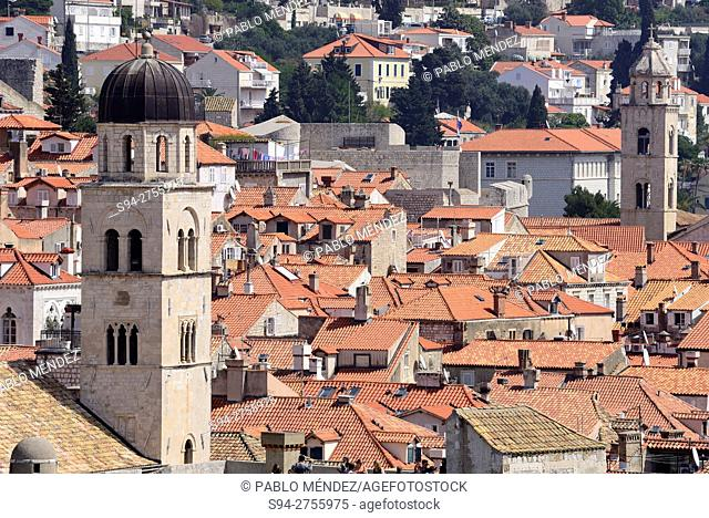 Tower of Svati Spasa church and rooves of Dubrovnik, Croatia