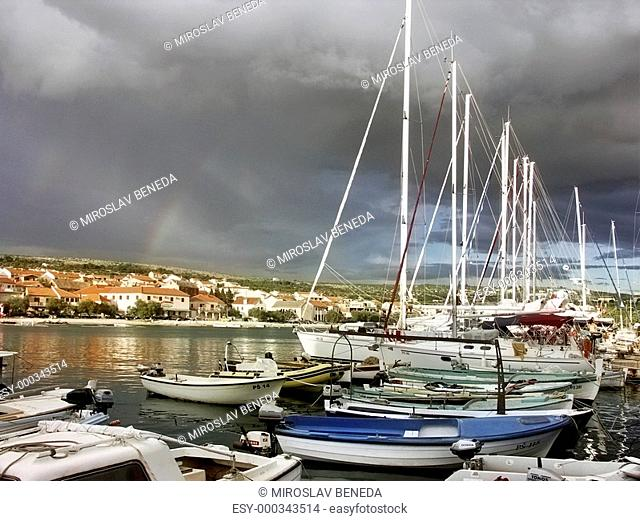 Croatia - city Primosten with boat