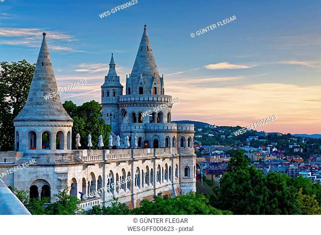 Hungary, Budapest, View to Fisherman's Bastion in the evening