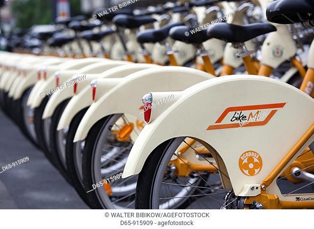 Italy, Lombardy, Milan, Bike Mi public rental bicycles