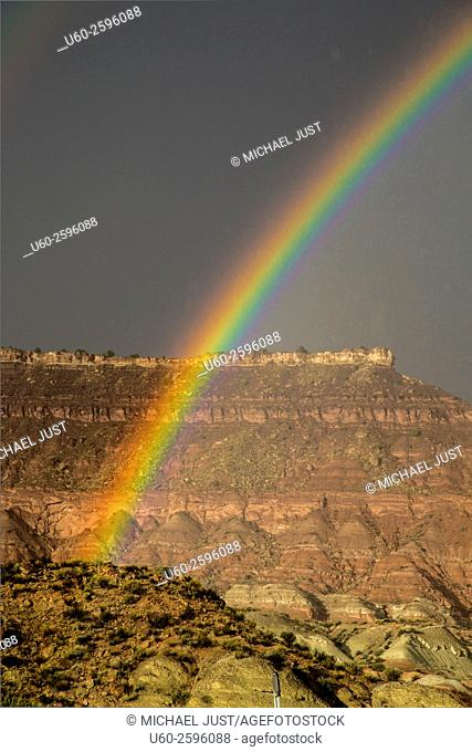 A passing storm produces a rainbow at Zion National Park, Utah