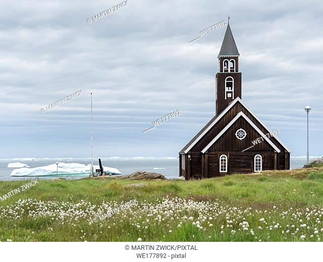 Zions church. Town Ilulissat at the shore of Disko Bay in West Greenland, center for tourism, administration and economy