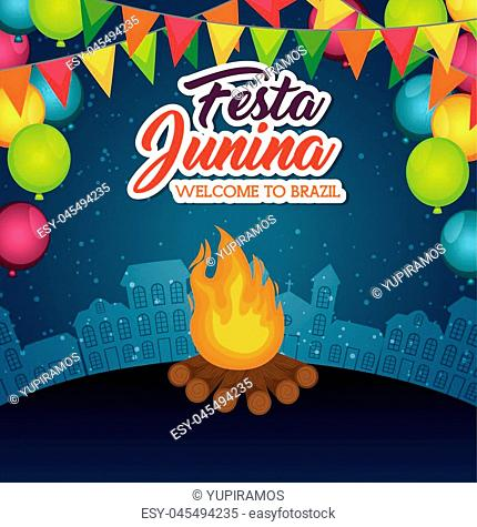 Fire with banner and balloons over blue background with city skyline vector illustration