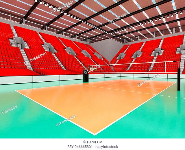 3D render of beautiful sports arena for volleyball with floodlights and red seats and VIP boxes for ten thousand people
