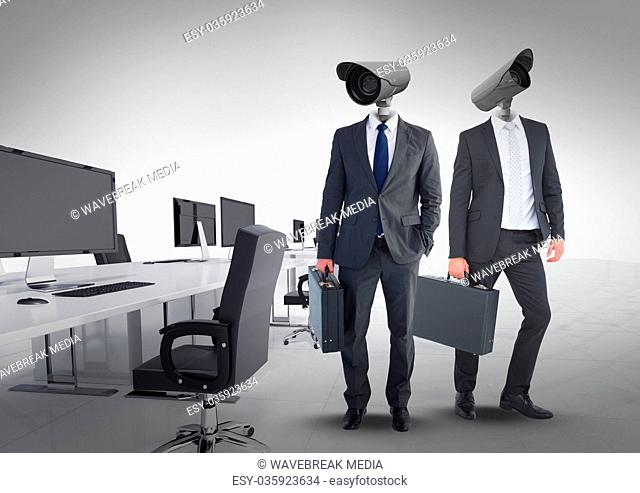 Businessmen with CCTV head at office