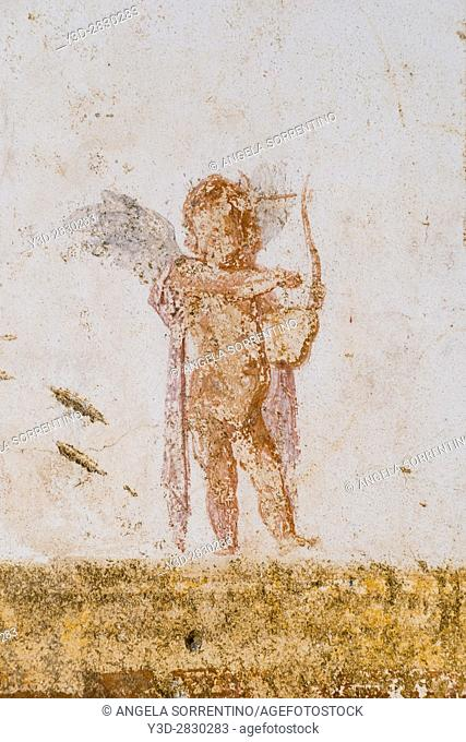 Ruined Roman Fresco in the Bay of Naples, Italy