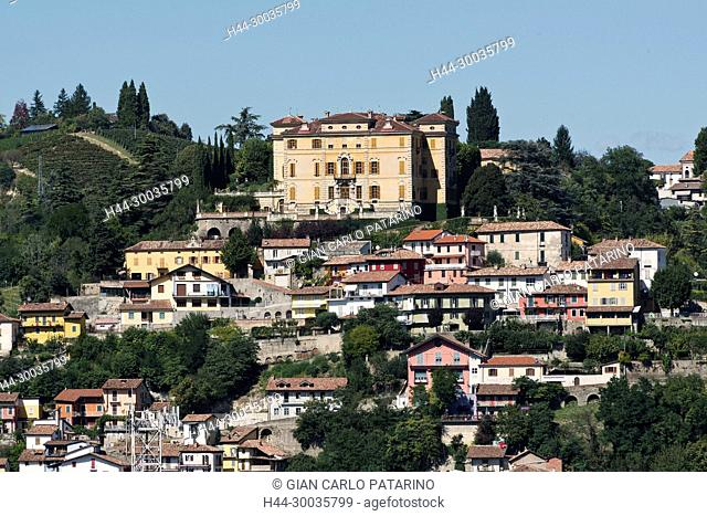 Italy, panorama of vineyards of Piedmont Langhe-Roero and Monferrato on the World Heritage List UNESCO. View of Canelli and the Gancia Castle