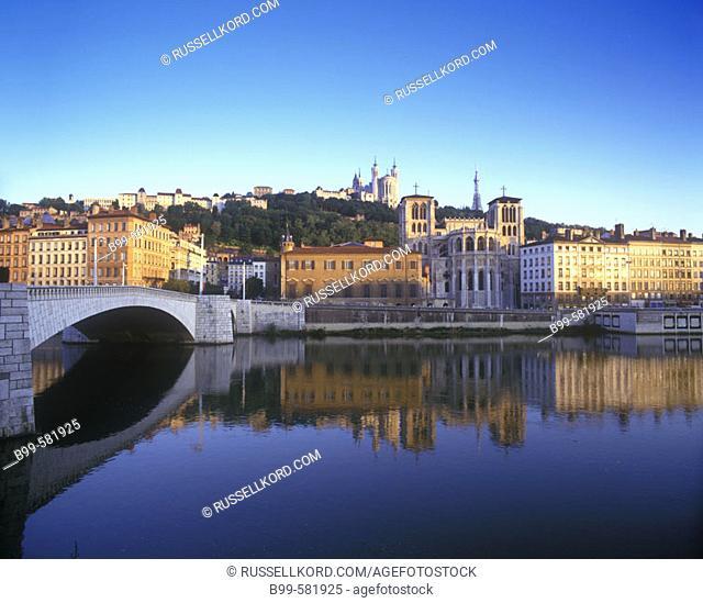 Cathedral Saint Jean, & Basilique Fourviere, River Soane, Lyon, France