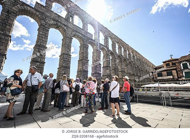 Medieval aqueduct in the Spanish town Segovia ( UNESCO World Heritage Site)
