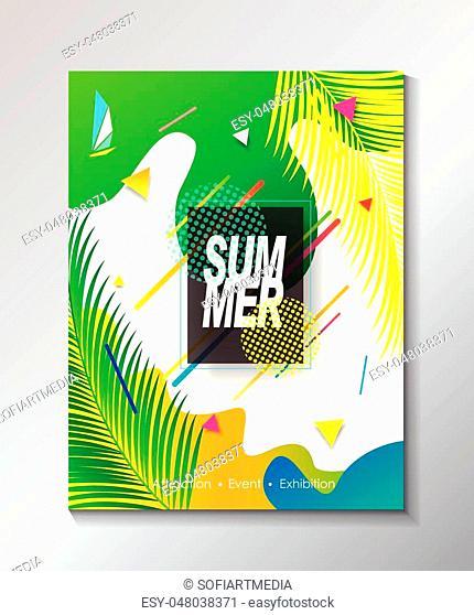 Abstract Hello Summer Tropical poster vector, modern design, festival, carnival, kids camp, pop music, sports, world