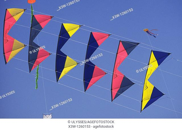 europe, italy, lazio, ostia beach, international kites meeting, acrobatic kites