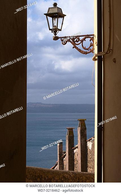 view of Lago di Bracciano from a road of Anguillara Sabazia, Lazio, Italy