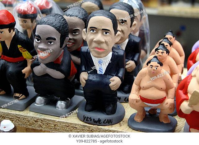 Barack Obama as a 'caganer' (particular feature of modern Catalan nativity scenes)