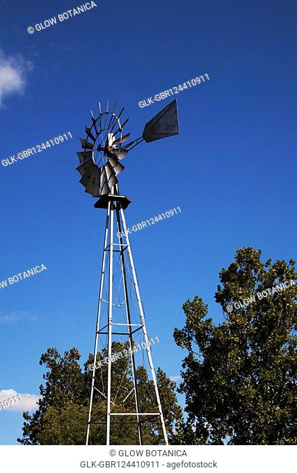 Low angle view of an industrial windmill, Amish Farm, Lancaster, Pennsylvania, USA
