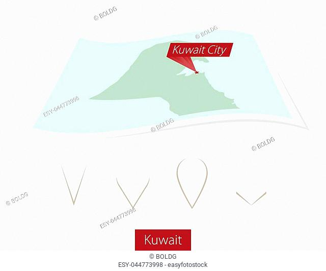 Curved paper map of Kuwait with capital Kuwait City on Gray Background. Four different Map pin set. Vector Illustration