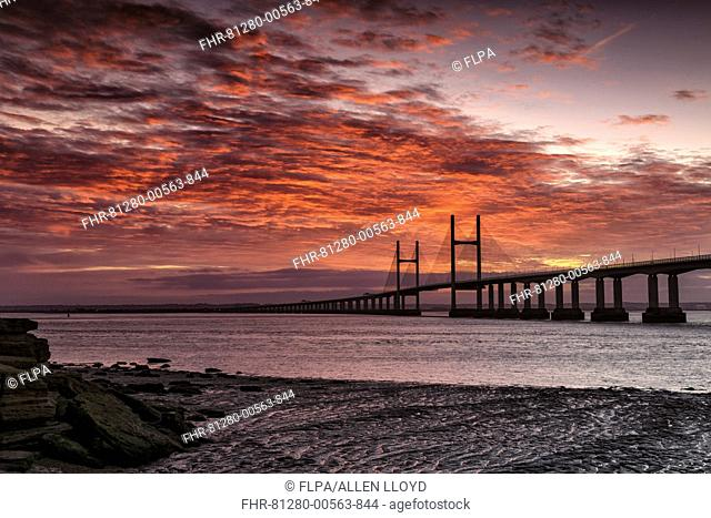View of road bridge over river at sunrise, viewed from Diver's Rock at Sudbrook, Second Severn Crossing, River Severn, Severn Estuary, Monmouthshire, Wales