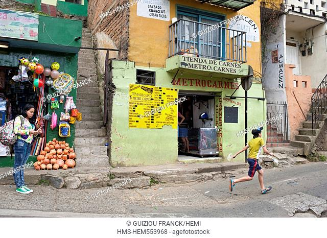 Colombia, Antioquia Department, Medellin, Santo Domingo Savio District inhabited by poor families favela