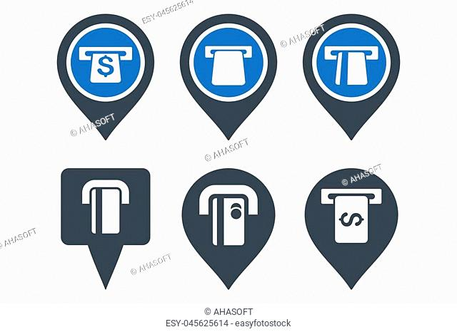 ATM Map Pointer glyph icons. Icon style is bicolor smooth blue flat symbols with rounded angles on a white background