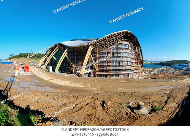 Construction of the biggest oceanarium in the CIS  Vladivostok, Russky Island, Far East, Primorsky Krai, Russian Federation