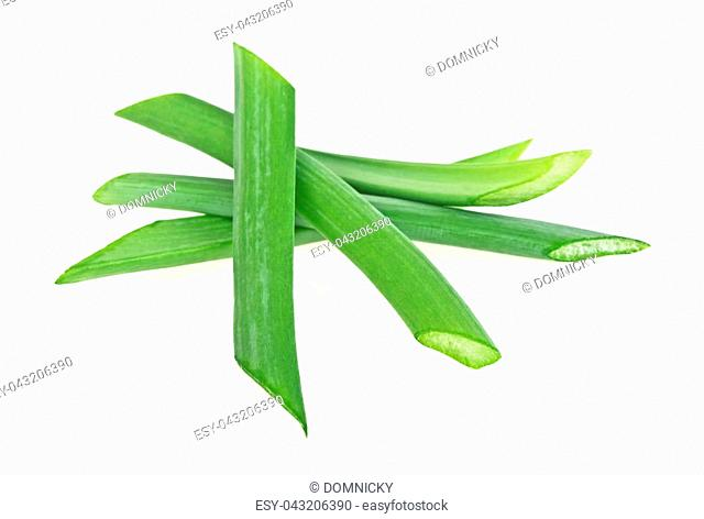 Green onion herb chopped isolated on white background