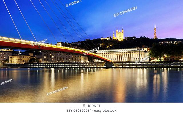 Large view of Saone river at sunset in Lyon city, France