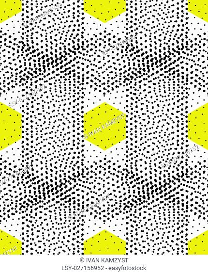 Original simple texture with regularly repeating geometrical shapes, dots, rhombuses. Vector seamless pattern. Modern stylish texture