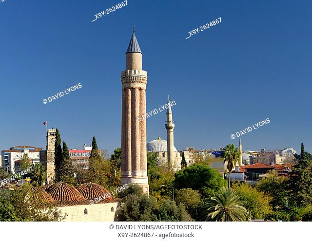 The ancient Fluted Minaret Mosque aka Yivli Minare, Alaaddin, Ulu Cami Camii Grand. Kaleici old town centre of Antalya, Turkey