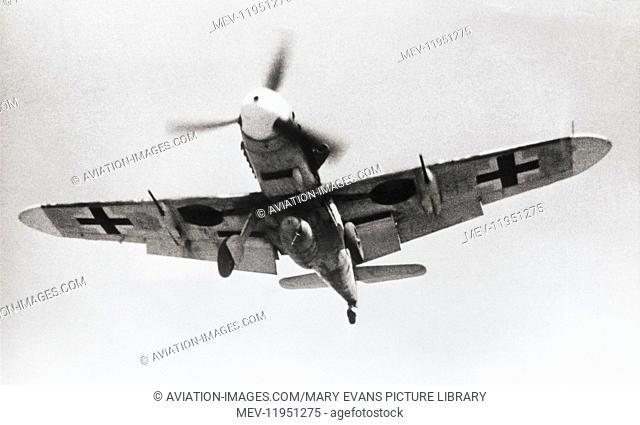 German Air Force Lutfwaffe Messerschmitt Bf-109F-4R1 on Final Approach Completing a Ferry-Flight from Sicily