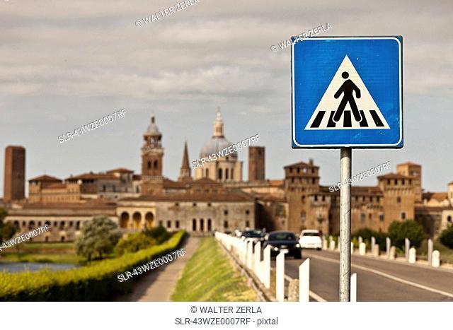 Pedestrian sign on rural road