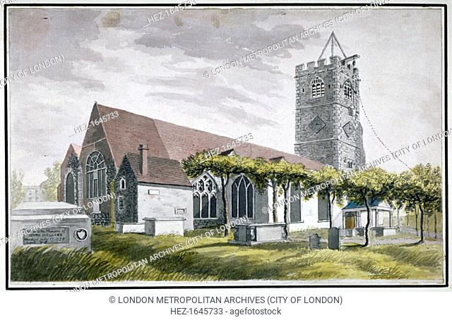 North-east view of All Saints Church, Fulham, London, c1800