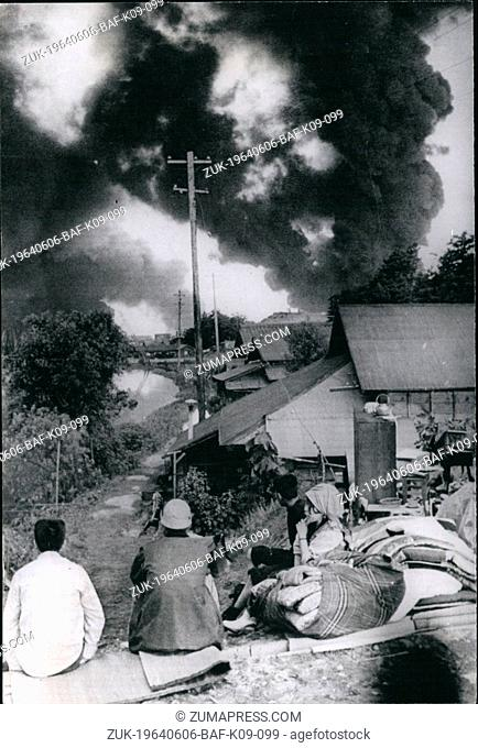 Jun. 06, 1964 - Japan Earthquake Disaster: The city of Niigata is a blazing shambles after the severe earthquake which took place at 1